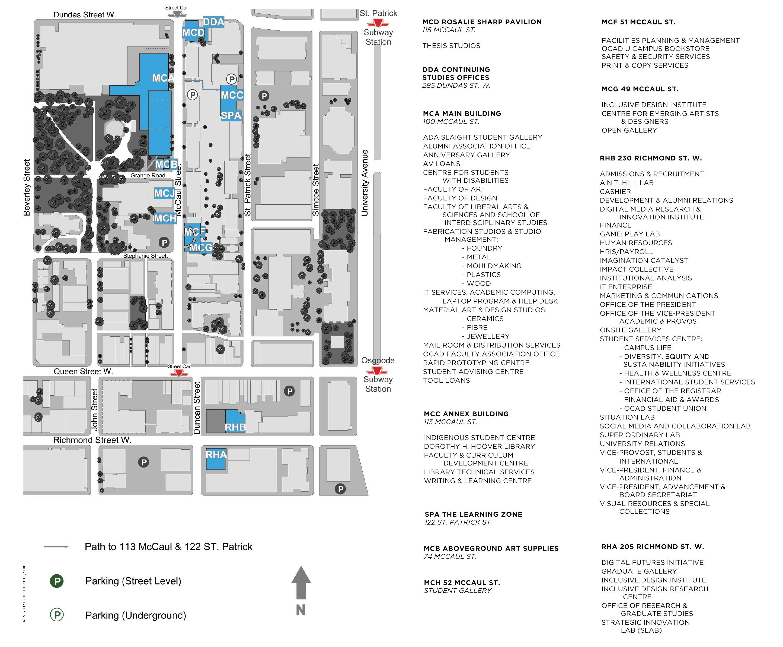 toronto kart OCAD University, Toronto, kart   Kart over OCAD Universitetet i  toronto kart