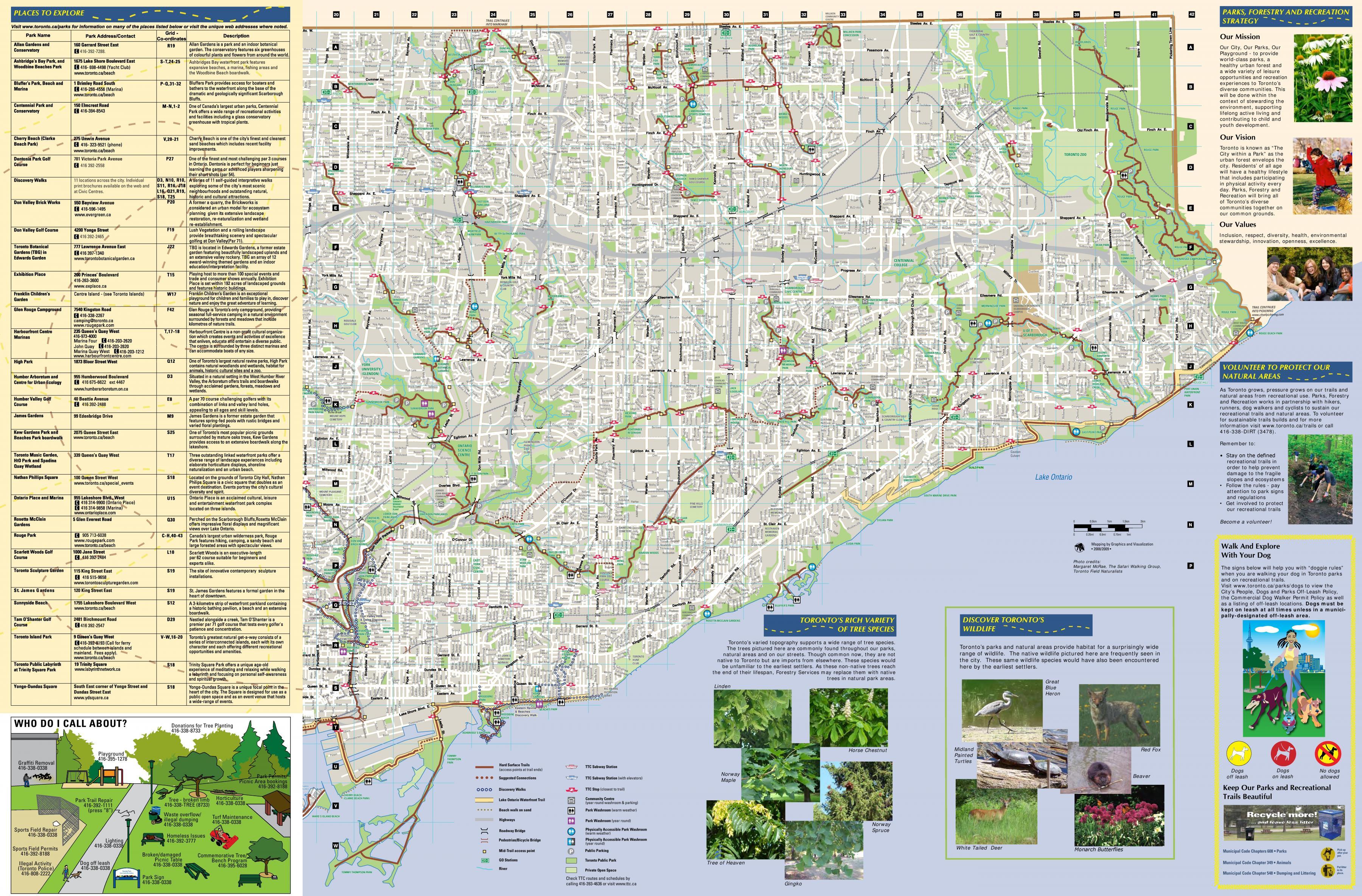 turstier kart Parker og turstier East Toronto kart   Kart over parker og  turstier kart