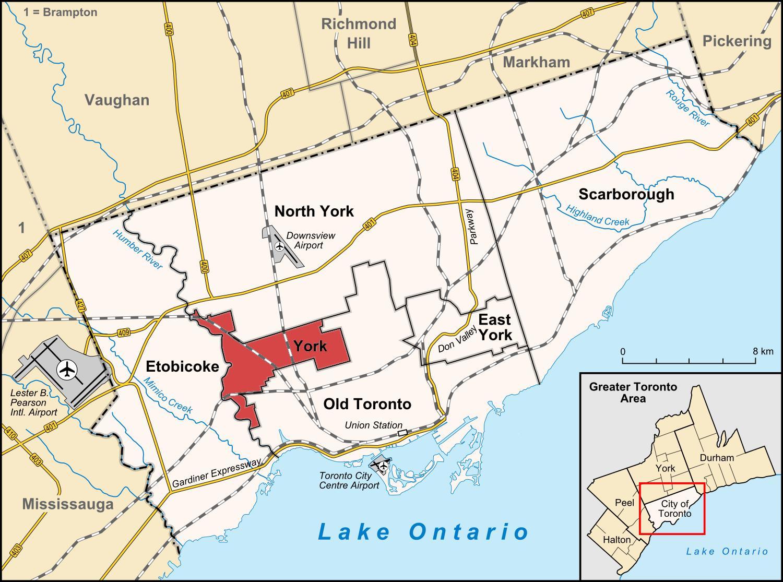toronto kart York Toronto kart   Kart over York Toronto (Canada) toronto kart