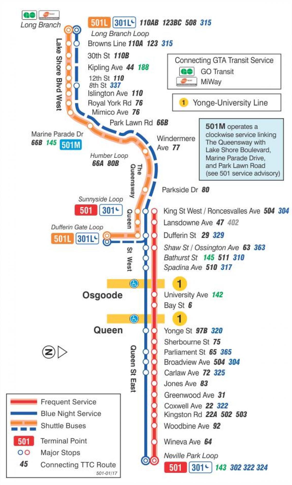 trikk kart Trikk linje 501 Queen kart   Kart over trikk linje 501 Queen (Canada) trikk kart