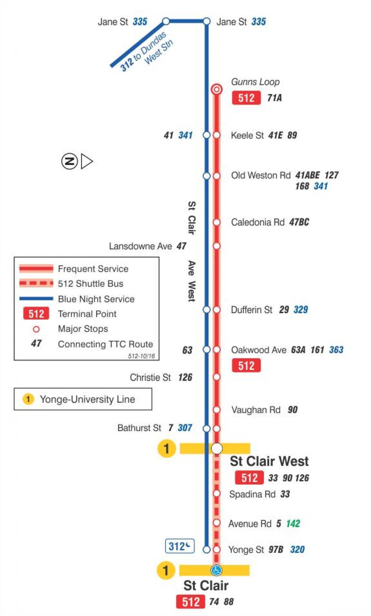 trikk kart Trikk linje 512 St. Clair kart   Kart over trikk linje 512 St  trikk kart