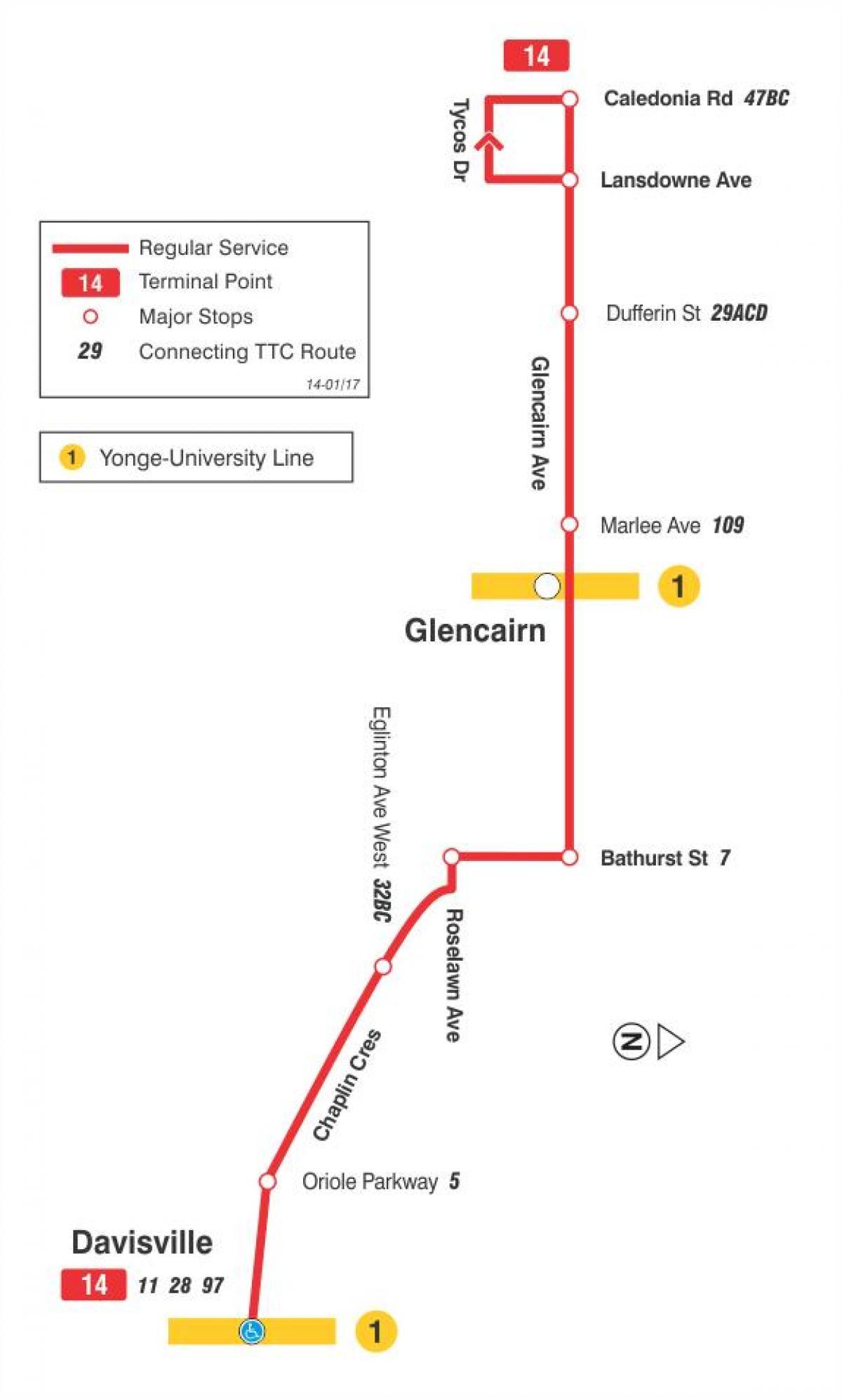 kart rute TTC 14 Glencairn buss rute Toronto kart   Kart over TTC 14  kart rute