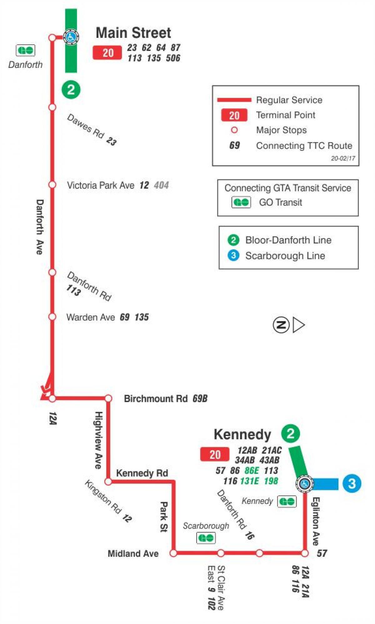kart rute TTC 20 Fjellsiden buss rute Toronto kart   Kart av TTC 20  kart rute