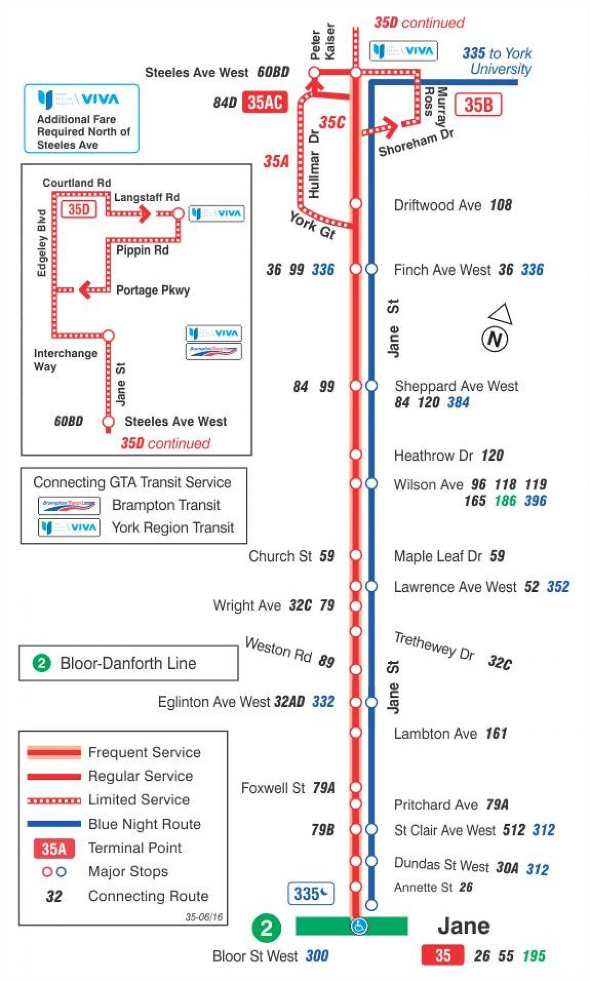 kart rute TTC 35 Jane buss rute Toronto kart   Kart over TTC 35 Jane buss  kart rute